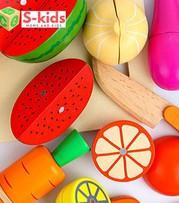 Đồ chơi gỗ Bộ khay cắt trái cây, rau củ